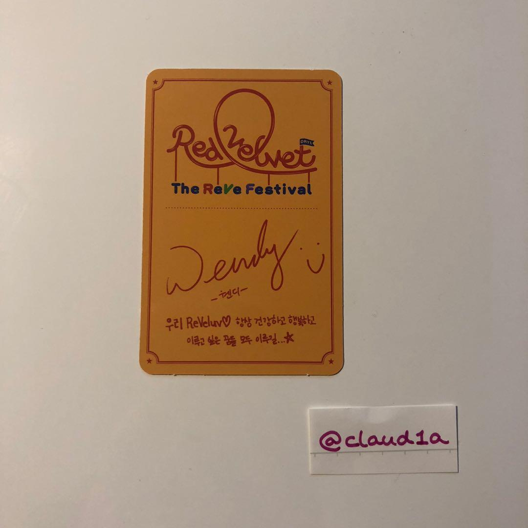 WTT Red Velvet The ReVe Festival Day 1 Official Wendy Photocard