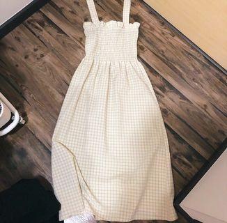 temt yellow plaid smocked dress