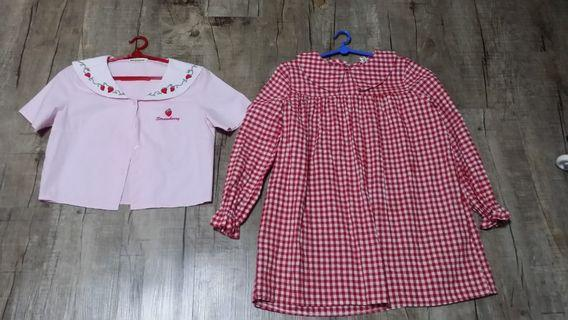 Red checkered babydoll dress strawberry sailor  top