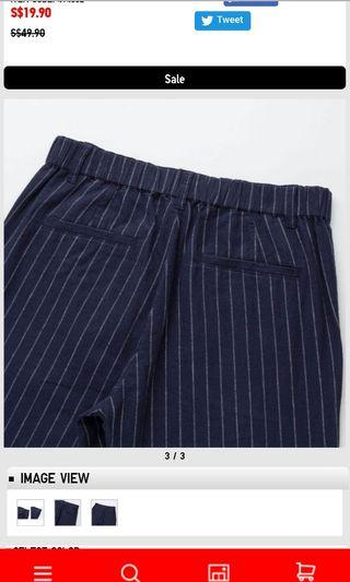 NAVY STRIPED WOMEN Cotton Linen Relaxed Pants