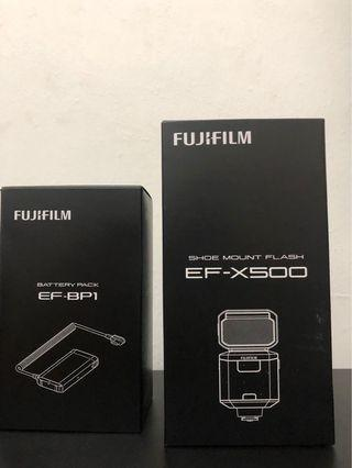 Fujifilm ef-x500 speedlight & battery pack ef-bp1