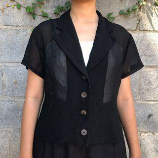 See through black vintage outer