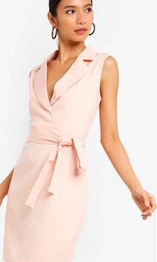 Pale Pink Lapel Sleeveless Suit Dress