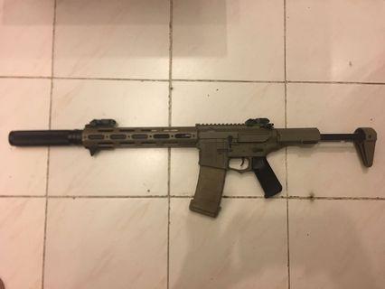 已改 電槍 Amoeba m4 步槍 沙色 一槍一匣