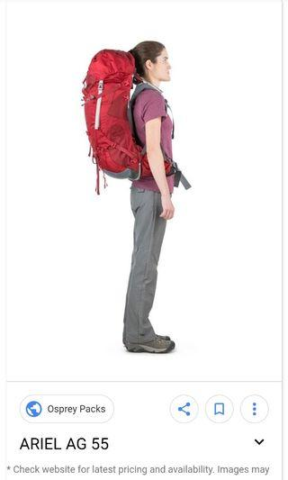Hiking clumping 55L 90%new