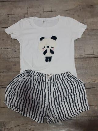 🚚 panda t shirt and striped shorts