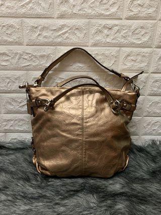 COACH Brooke Rose Gold Perforated Logo Leather Handbag