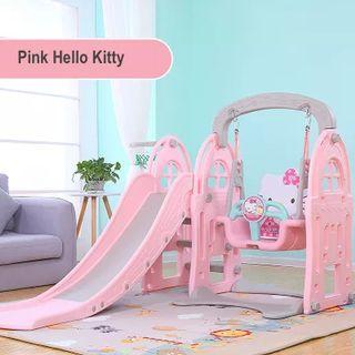 Baby Toddler children Indoor Playground 3 in 1 Swing Slide Basketball - Pink Hello Kitty