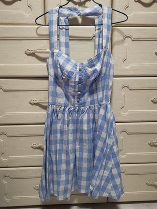 Checkered blue casual dress