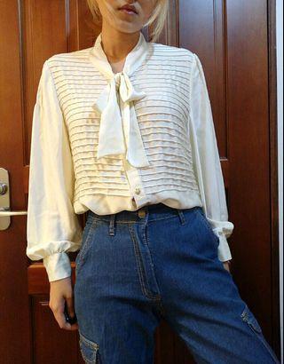 🚚 古著 質感 白色綁帶絲綢感襯衫
