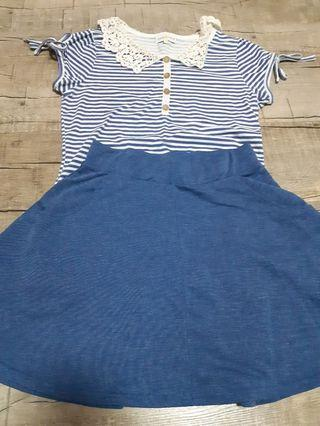 🚚 Blue laced top and striped skirt set