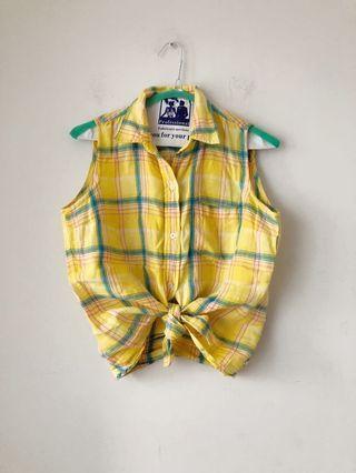 Vintage Ralph Lauren summer plaid linen shirt