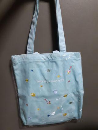 🚚 Space Light Blue Canvas Tote Bag