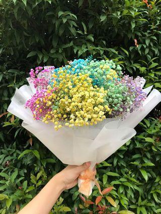 Large Rainbow Baby Breath Bouquet