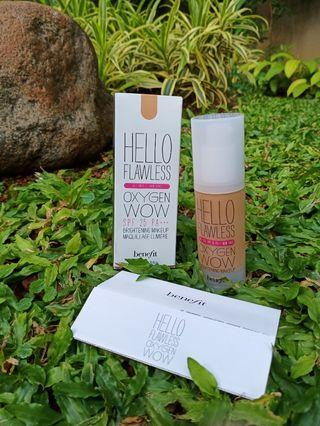 """Benefit Hello Flawless Oxygen Wow shade Toasted Beige """"warm me up"""" 30ml ORIGINAL"""