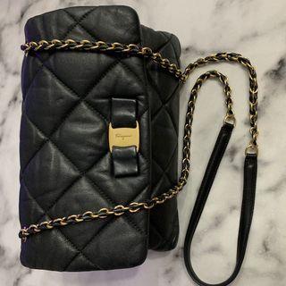 FERRAGAMO QUILTED BLACK BAG