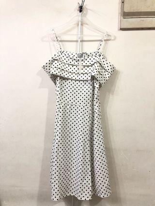 New! Polka dot white off shoulder dress