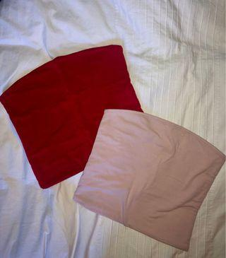 Red and light pink Brandy Melville Jenny tube tops