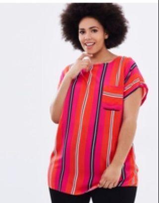Bright coloured plus size top