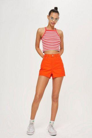 BNWT Topshop flame red mom shorts