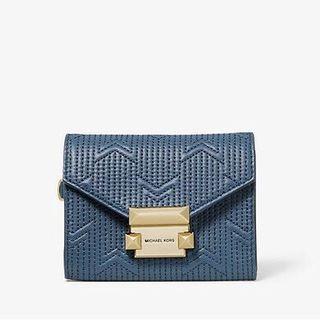 MICHAEL KORS Whitney Small Deco Quilted Leather Chain Wallet 短銀包/卡包  只有藍色/墨綠色超特價🈹‼️ 内裡包含一個可拆的卡片套 超實用‼️