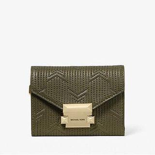 墨綠色 MICHAEL KORS Whitney Small Deco Quilted Leather Chain Wallet 短銀包/卡包  只有藍色/墨綠色超特價🈹‼️