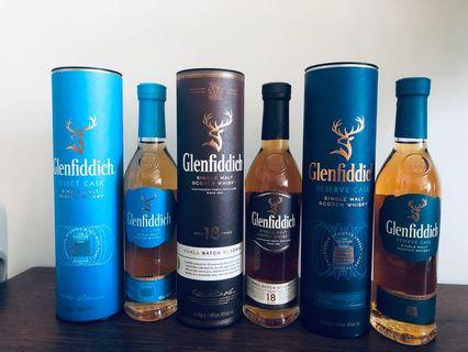 Glenfiddich 18 Year Old ,Select Cask and Reserve Cask 20cl version.