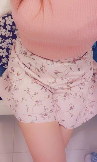 baby pink floral skirt