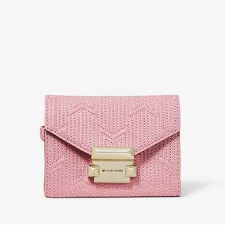 MICHAEL KORS Whitney Small Deco Quilted Leather Chain Wallet 粉紅色短銀包/卡包