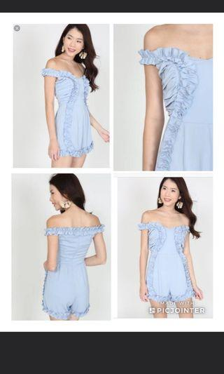Kimberly Chia BNWT MDS Blue frilly curly lacy romper