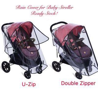 Ready Stock! Brand New Rain Cover/Weather Shield U Shaped/Double Zipper Window for Baby Umbrella Lightweight Stroller / Pram (Universal Fit)