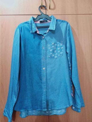 Blue Longsleeves Polo Shirt for Women