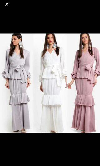 LUBNA PLEATED KURUNG IN WHITE