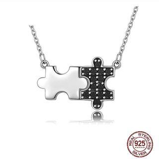 925 Sterling Silver Silver & Black Pave CZ Puzzle Pendant Women Authentic Silver Necklace Jewelry Women Fashion Jewelry