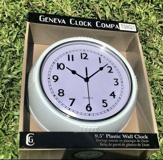 "White w/ light blue Geneva Wall Clock 9.5"""