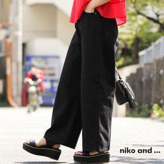 niko and 女百搭基本單色牛仔長褲-黑色