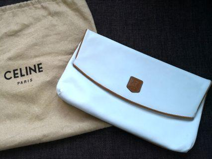 Celine leather white clutch
