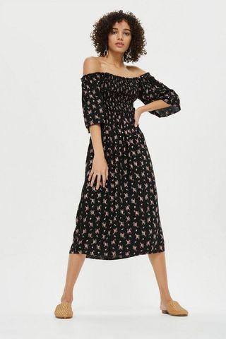 BNWT Topshop sheared flute sleeve midi dress