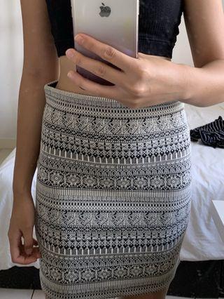 Aztec print bodycon pencil skirt