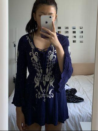 Dark Blue embroidery top/dress