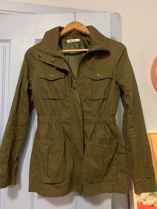 Army green zip up jacket XS (6-8)