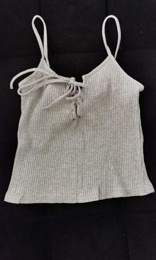 Basic Ribbed lace up crop top in grey