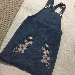 Embroidery Denim Pinafore / Overall Dress