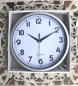 "White w/ silver Wall Clock 10"""