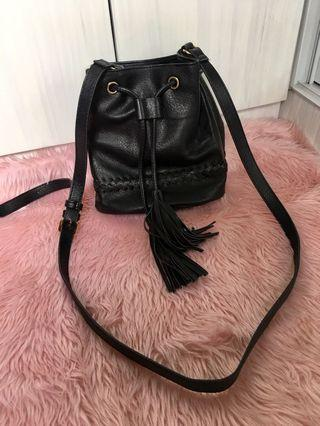 Bucket Black Sling Bag
