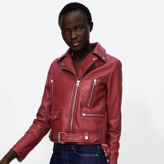 BNWT: Zara Red Leather Jacket