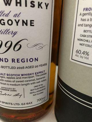 Glengoyne 1996 20 Year Old Hunters Laing First Edition Cask 12825