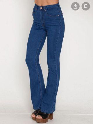 High Waisted Blue Flared Jeans