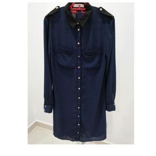 Oasis  Shirt  Dress Navy Sz6