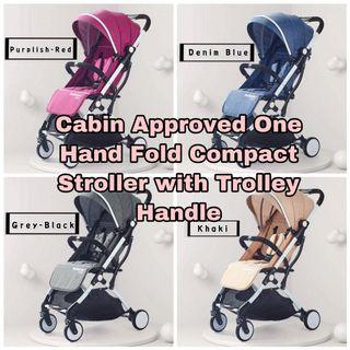Stroller ( Cabin Size , Compact One Hand Fold with Trolley Handle )
